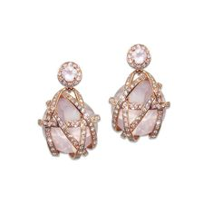 """Cadeau"" 18K Rose Gold Rose Quartz Diamond Drop Earrings"
