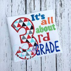 All About 3rd Grade Applique Design - pinned by pin4etsy.com
