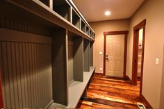 Custom-build storage for the mudroom! Perfect for the kids that play sports and have heavy jackets #storage #mudroom by Fieldstone Family Homes!