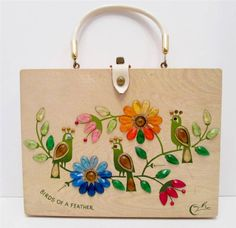 Vintage 1970s ENID COLLINS BIRDS OF A FEATHER Wood Box Bag Purse Texas #EnidCollinsofTexas #BoxBagPurse