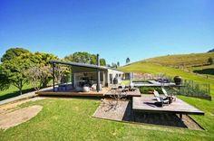 australian steep block house backyard decks - Google Search