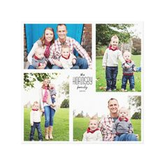 Square Custom Family 4-Photo Canvas Stretched Canvas Prints