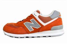 Joes New Balance 574 Retro Suede Orange Grey Womens Shoes