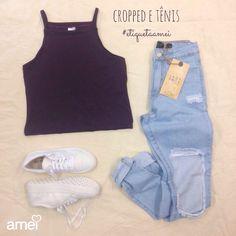 Lindezas✨ #lojaamei #cropped #jeans #tênis #muitoamor #novidades #etiquetaamei