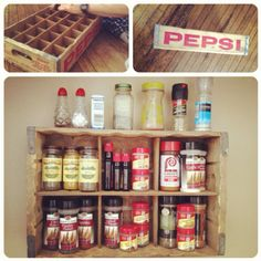 sunday morning quick project. pepsi crate turned spice rack.