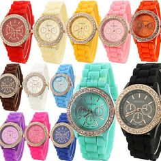 Geneva Silicone Golden Crystal Stone Quartz Ladies/Women/Girl Jelly Wrist Watch Candy Colors Free Shipping 001K #>=#>=#>=#>=#> Click on the pin to check out discount price, color, size, shipping, etc. Save and like it!