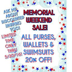 PURSES, WALLETS & SWIMSUITS 20% OFF SALE! MEMORIAL WEEKEND SALE! PURSES, WALLETS & SWIMSUITS 20% OFF! BEGINNING FRIDAY, MAY 27, 2016. POSH IS OFFERING DISCOUNTED SHIPPING ON PRICE DROPS ON ITEMS $10+ reduced by 10%. FEEL FREE TO TAKE ADVANTAGE OF THIS OFFER & ASK ME TO DO A PRICE DROP!  IF JUST BUYING ONE ITEM PLEASE LET ME KNOW SO I CAN GIVE YOU THE 20% DISCOUNT. IF BUYING MORE THAN 2 BUNDLE AND GET THE 20% off! Victoria's Secret Swim