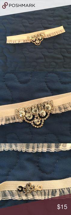 NEW Alisa Brides Crystal Wedding Garter White Elastic