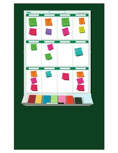 "12 Section Sticky-Note Planner Kit - Includes: 19"" by 24"" Planner, 24"" wide accessory tray, 6 brilliant colors of sticky-notes 2"" x 2"" (100 sheets ea.), dry-erase marker, eraser, spray cleaner and command strips to adhere to wall. (35.00)"