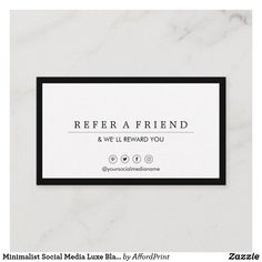 Shop Minimalist Social Media Luxe Black&White Referral Business Card created by AffordPrint. Custom Business Cards, Professional Business Cards, Referral Cards, Minimalist Business Cards, Smudging, Paper Texture, Things To Come, Social Media, Writing