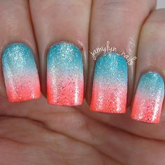 Shimmery Coral and Tiffany Blue Gradient Nails
