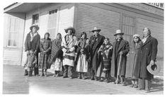 Blackfeet at the train station Browning, Montana 1909