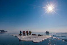 Ice rafting on lake Baikal in SIberia