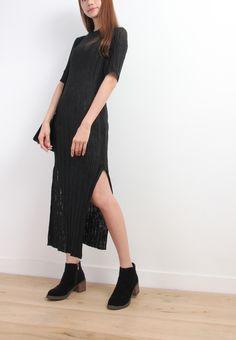 High Slit Pleated Knit Dress