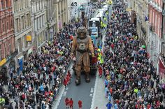 GIANT puppets walk through the streets of Liverpool in search of each other (msnbc blog)