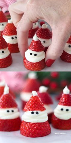 Easy Strawberry Santa Treats - If you are looking for the perfect Christmas snack or appetizer for your next holiday party, you ha - Christmas Party Food, Christmas Brunch, Xmas Food, Christmas Sweets, Christmas Cooking, Christmas Goodies, Christmas Candy, Christmas Fruit Ideas, Christmas Pictures