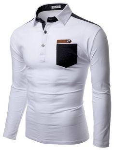 Doublju Mens Denim Collar Pocket Point Longsleeve Polo Shirts #doublju Polo Shirts With Pockets, Polo Shirt Outfits, Mens Designer Shirts, Shirt Style, Casual Shirts, Shirt Designs, Men's Fashion, Men Casual, Menswear