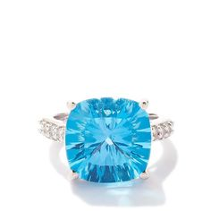 Swiss Blue Topaz Ring with White Topaz in Sterling Silver 12.65cts
