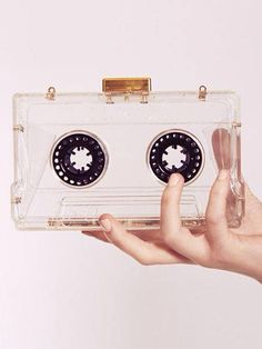 Retro Styles - We've featured the cassette reincarnated in many guises, from tables to wallets. But this cassette clutch bag from Dahlia is surely the most Moda Afro, Novelty Bags, Novelty Handbags, Clear Perspex, Cute Bags, Mode Style, 90s Style, Visual Kei, Beautiful Bags