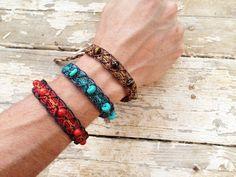 Tribal Bracelet Macrame Anklet Gemstone by MaKarmaCreations, $24.00