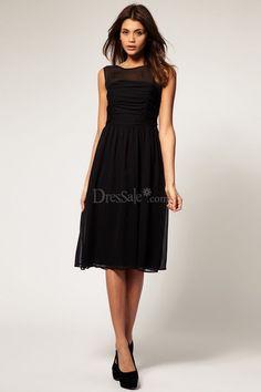 Little Black Junior Bridesmaid Dress in A-line Design