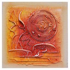 Quadro Artesanal com Textura Abstrato Vermelho 30x30cm Uniart