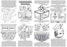 """Mini libro, para celebrar el día de la Constitución (6 de diciembre). Al imprimirlo asegúrate que está en """"ajustar al área de impresión"""" para que los dobleces y cortes sean los apropiados. Para el montaje los podéis ver en el artículo """"Fabricamos un pequeño libro"""".  Autor: Isidro Burgos Ramos … Teaching Spanish, Special Day, Classroom, Science, Culture, Comics, Learning, Words, Microsoft Word"""