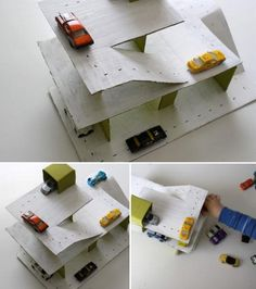 The PIne Wood Derby is coming.. what if we made these cardboard recycled car garages?? Are the boys too old for this?