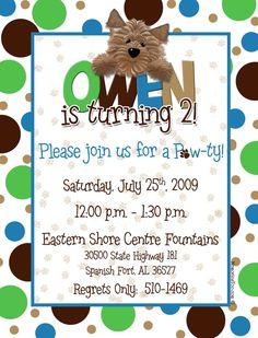 Puppy Dog Theme Birthday Invitation. $15.00, via Etsy.