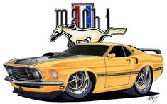 Cartoon of a 1969 Mach 1 Mustang drawn in marker, soft pastel and pencil. This one's for my wife. She's a redhead...hence the name of the drawing. (After posting this I noticed the rim ou...