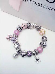 50% OFF!!! $399 Pandora Charm Bracelet Pink White Purple. Hot Sale!!! SKU: CB01657 - PANDORA Bracelet Ideas