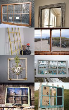 Windows... vintage, decal, decorated, repurposed     http://www.etsy.com/treasury/MjEzMzI3NjF8MjcyMTM4NTk0MQ/windows-looking-out-looking-in--Pinned with TreasuryPin.com