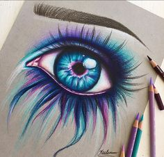 46 Ideas Art Inspiration Drawing Sketches Colored Pencils For 2019 Pencil Art Drawings, Art Drawings Sketches, Love Drawings, Beautiful Drawings, Colorful Drawings, Drawings With Colored Pencils, Drawings Of Eyes, Amazing Drawings, Beautiful Pictures