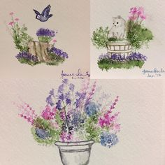 Art Impressions Rubber Stamps: Wonderful Watercolor.  handmade water color scenes.
