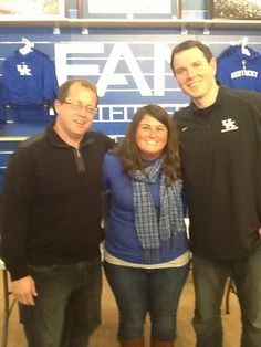 fan outfitters lexington ky. ryan, ksr fan renee, and matt during a morning show on location at outfitters lexington ky