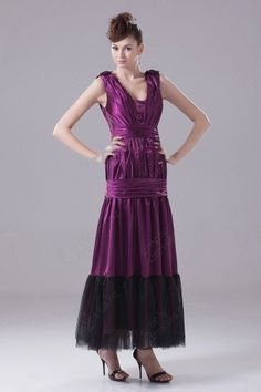A-line Straps Elastic Woven Satin Ankle-length Ruffles Evening Dress