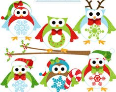 hiboux de Noël des cliparts numérique par poppymoondesign sur Etsy