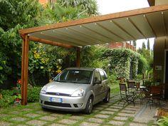 Tettoia e pergola assieme Car Shelter, Car Parking, Verona, Gazebo, Houses, Garage, Courtyards, Kiosk, Pavilion