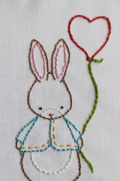 Some Bunny loves you Hand Embroidery Pattern. Created from my original Bumpkin Hill illustration. Now you can embroider this Bunny using a variety of simple and relaxing stitches. ♥ You will receive: * PDF Pattern with instant download after purchase * Instructions for transferring the