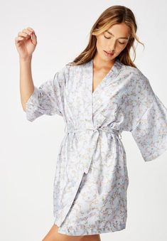 Satin kimono gown - dusty ditsy Cotton On Sleepwear | Superbalist.com Sleepwear Women, Lingerie Sleepwear, Satin Kimono, Hip Bones, Ditsy, Woven Fabric, Hemline, Gowns, Sleeves