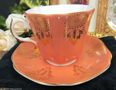 ROYAL GRAFTON TEA CUP AND SAUCER DREAMCATCHER GOLD PATTERN TEACUP ORANGE :)