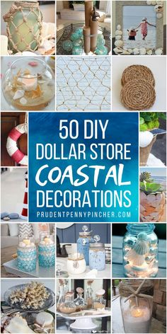 Add some coastal charm to your home this summer for less with these Dollar Store Coastal DIY Home Decor Ideas. From seashell candles to beach-themed wreaths, there are plenty of coastal and nautical decor ideas for the home on a budget. Dollar Store Crafts, Dollar Stores, Dollar Dollar, Seashell Candles, Seashells, Diy Home Decor For Apartments, Diy Casa, Diy Bathroom Decor, Budget Bathroom