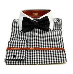 steven land men s black white checker dress shirt bowtie bo