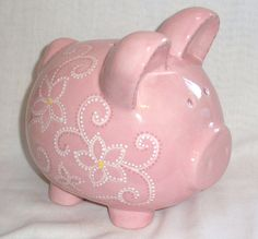Hand painted Ceramic Piggy Bank - Personalized - Pink Flowers and Swirls