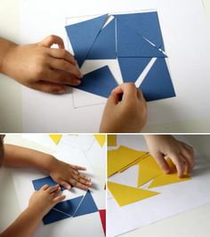 Allow children to create their own geometrical patterns and tangrams from construction paper and templates.
