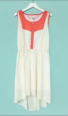 Red and White Elastic Waist High Low Sleeveless Chiffon Dress