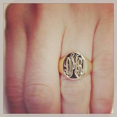 Womens Signet Rings Solid Back in 14kt Gold - click to enlarge