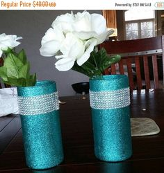 ON Sale 5 glass vases bling vases wedding by EverydayDesignEvents