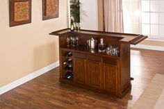 Hillsdale Furniture Classic Large Brown Cherry Home Bar Unfinished Basement Bedroom, Home Bar Designs, Hillsdale Furniture, Wine Storage, Wood Bars, Bars For Home, Foot Rest, Cozy House, Storage Spaces