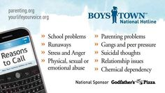 There are many reasons to call the Boys Town Hotline at 1-800-448-3000 or visit www.yourlifeyourvoice.org  Whatever the reason, we're here for you and your family.   BoysTown.org Godfathers Pizza, Peer Pressure, Borderline Personality Disorder, Anorexia, Emotional Abuse, Encouragement Quotes, Self Help, Parenting, Boys